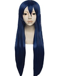 Angelaicos Womens Long Straight Dark Blue Halloween Costume Cosplay Party Wigs for Lovelive! Sonoda Umi