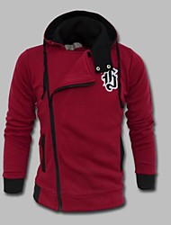 MANWAN WALK®Men's Casual Slim Solid High Collar Hoodie with Applique on The Breast.