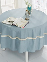 "Light Blue Round TableCloth With Crochet, Polyester Dia. (70""), 200cm (78"")"