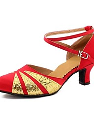 Women's Dance Shoes Latin Satin/Flocking Chunky Heel Red/Silver/Gold/Other