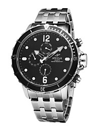 Men's High Quality Stainless Steel Waterproof Dress Quartz Wrist Watch Date/Week/Dual Time Functions