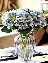 seis hygrangeas azuis artificiais flores com vaso
