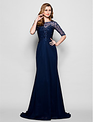A-line Plus Sizes / Petite Mother of the Bride Dress - Dark Navy Sweep/Brush Train Half Sleeve Chiffon / Tulle