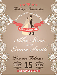 Personalized Wedding Invitations Bride & Groom Pattern Save The Date Paper Card 13.5cm x 13.5cm 50pcs/Set