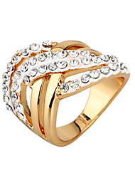 Arinna Ladies Crystal Clear Rhinestone Cross Design Finger Rings 18k Gold GP J1935