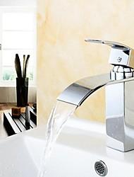 Bathroom Sink Faucet Modern Design Waterfall Brass High Grade Faucet (Chrome Finish)