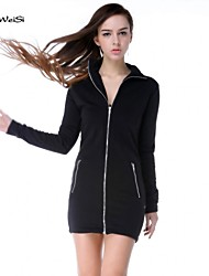 NUO WEI SI® Women's Solid Color Long Sleeve With Zipper Dress