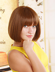 European And American Fashion Face Short Brown Hair Wig Repair