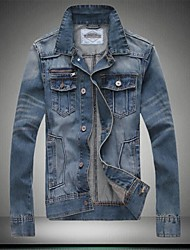 Men's Casual Slim Single Breasted Denim Jacket (Cotton/Polyester)
