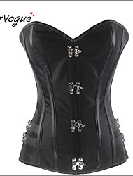 Burvogue Women's Black Steampunk Overbust Full Boned Strapless Corset Top Body Shaper