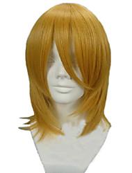 Angelaicos Unisex Attack On Titan Petra Rall Medium Straight Gold Layered Halloween Party Cosplay Hair Full Bob Wig