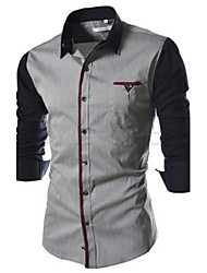 Men's Casual Shirt Collar Long Sleeve Casual Shirts (Cotton Blend)