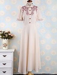 TS Vintage Work Inelastic Short Sleeve Midi Dress (Chiffon/Lace)