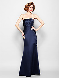 Lanting Bride® Trumpet / Mermaid Plus Size / Petite Mother of the Bride Dress Floor-length Sleeveless Satin withSide Draping / Crystal