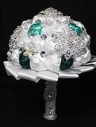 Light Green And Dark Green Color Wedding Pearl Bouquet