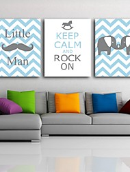 Stretched Canvas Print Art Cartoon Animal Set of 3