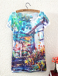 Women's O-Neck 2015 New Summer Fashion Top Sale Print 3D T Shirt(Cotton Blends)