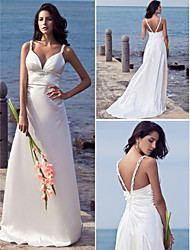 Lanting Bride® Sheath / Column Petite / Plus Sizes Wedding Dress - Chic & Modern Sweep / Brush Train Straps Stretch Satin with Beading