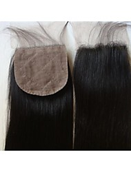 Silk Base Closure 18Inch Straight Malaysian Virgin Hair Closures Silk Base Free Style Natural Colour 1Pc