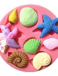 estrela do mar mar caracol Búzio fondant moldes do bolo de chocolate do molde para a cozinha assar por doces de açúcar