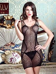 Chemises & Blouses / Lingerie en Dentelle / Ultra Sexy Vêtement de nuit Femme Couleur Pleine Nylon / Spandex Noir Aux femmes