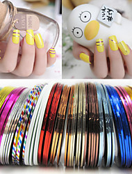 10Pcs Color Mixing of Shining Gold And Silver Line Manicure Nail Art Decoration Sticker