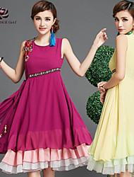 Medio - Vestido - Casual/Impresión/Bonito - Gasa