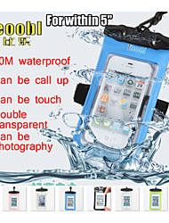 """Tteoobl 20M PVC within 5"""" Mobile Phone Waterproof Pouch Underwater Dry Case Bag For Iphone 5 5S 6 Samsung Galaxy S4 S3"""