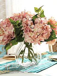 cinco carne rosada hyfrangeas artifical flores com vaso