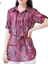 Mulheres Blusa Casual Simples Verão,Estampado Colorido Poliéster Meia Manga Fina