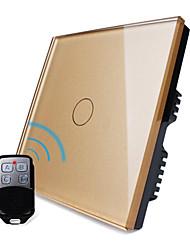UK Standard,Livolo Luxury Golden Glass Panel,Wireless Remote Home Light, 1Gang 2 Way Switch,110-250VAC
