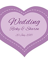 Personalized Wedding Product Labels Purple Heart Shaped Pattern White Film Paper (Set of 90pcs)