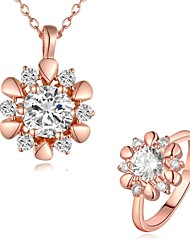 Plated Rose Gold Fashion Jewelry Sets Necklace Ring