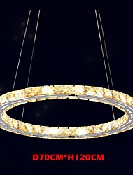 LED Crystal Pendant Lights Lighting Lamps Modern Fixtures Amber K9 Crystal Round Single Ring 70CM