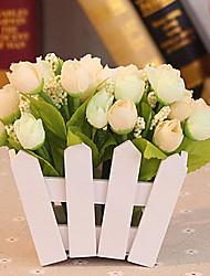 """5.5 """"h estilo rural rosas de tela de seda en la valla de blanco"""