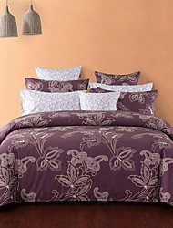 H&C ®  Cotton 100%  Duvet Cover Set 4 Pieces  Floral Pattern  European  Style with Fitted Sheet MFY036