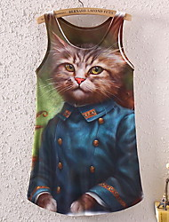 Ainika Women's  Europe the cat printing sleeveless round collar fashion ladies T-shirt 34