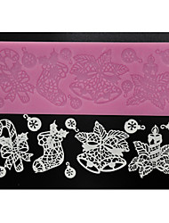 FOUR-C Cake Tools Lace Decoration Mat Cake Lace for Sugarcraft,Silicone Mat Fondant Cake Tools Color Pink