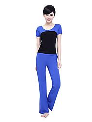 Mujer Yoga Tops Medias mangas Transpirable / Listo para vestir / Capilaridad / Compresión Rojo / AzulYoga / Fitness / Deportes
