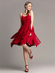 Lanting Knee-length Chiffon Bridesmaid Dress - Burgundy Plus Sizes / Petite A-line Spaghetti Straps