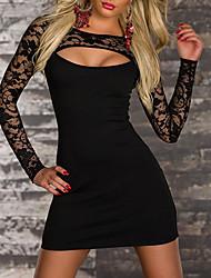 Elegant Lady Black Low-cut Spandex Nightclub Uniform