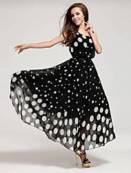Women's Polka Dots Plus Sizes Sleeveless Long Maxi Dress