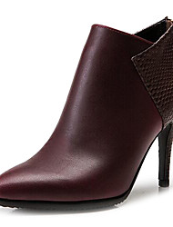 Vivian Women's Europe Leather Color Matching Temperament Cusp High-Heeled Boots Naked