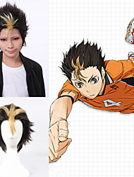 Angelaicos Men Haikyuu Nishinoya Yuu Boy Short Yellow Black Layered Fluffy Halloween Costume Cosplay Full Wigs