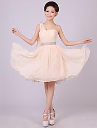 A-Lijn/Prinses Een schouder Bruidsmeisjesjurk Korte broek / Mini