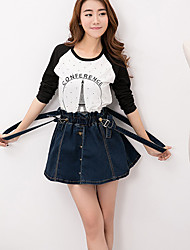 Women's High Waisted Jeans Braces Skirt