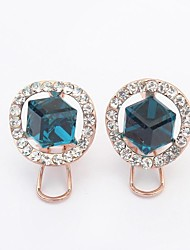 Women's Elegant Rhinestone Pave Cubic Square Clip On Stud Earrings
