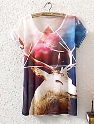 Women's O-Neck 2015 New Summer Fashion Cute Reindeer Cotton T shirt(Cotton Blends)