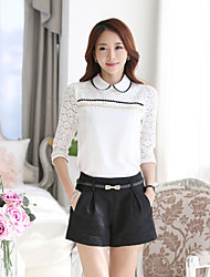 Women's Simlicity/Cute/Work  Lace Splicing Long Sleeve Regular Blouse (Chiffon/Lace)