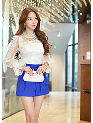Women's Sexy/Lace/Work Stand Collar Ruffles Long Sleeve Tops & Blouses (Elastic/Polyester)